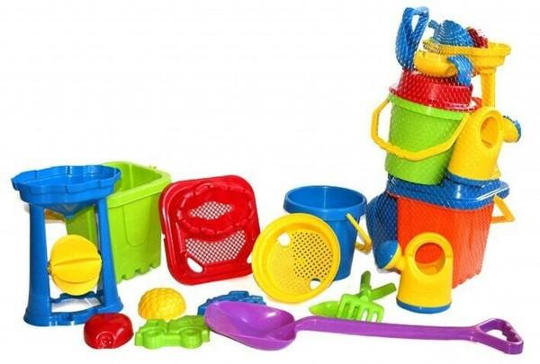 frabar-verve-molteni-Riesen-XL-Eimergarnitur-13-teilig-Sandspielzeug-Sandkasten-Sand-Spielzeug-Strand