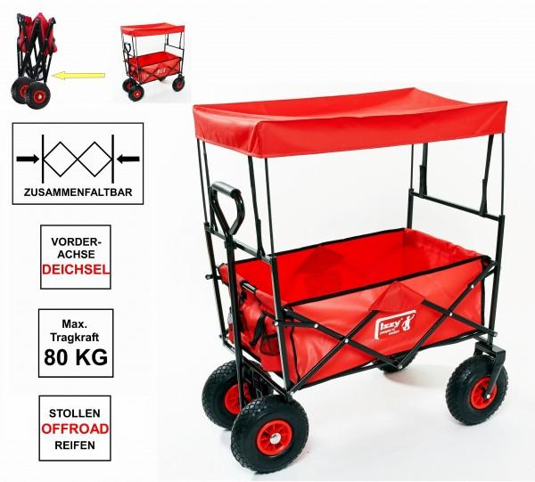 Bollerwagen mit Luftreifen, klappbar, mit Dach, Metallgestell, 80 kg Tragkraft, Izzy