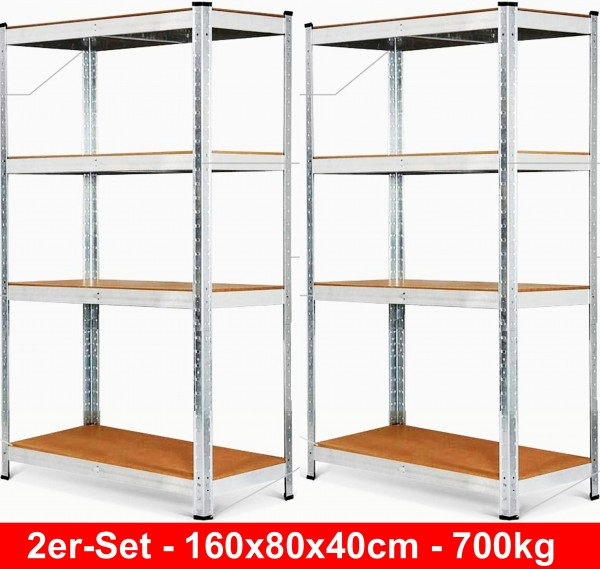 Izzy-2er-pack-set-Schwerlastregal-lagerregal-garage-keller-regal-4-böden-280kg-tragkraft